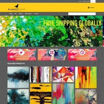 blackcrowart home page - a shopify store created from scratch