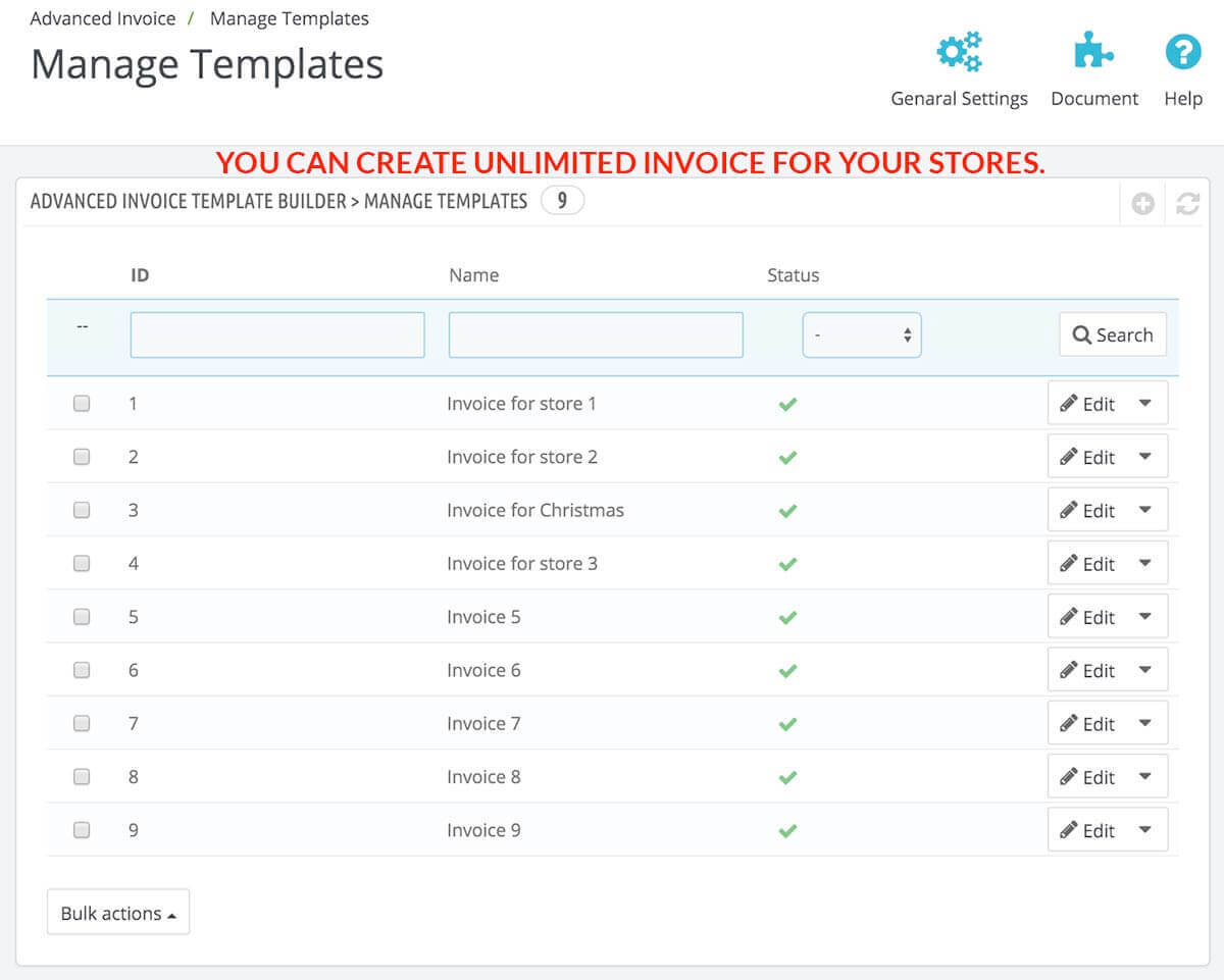 1template Manage  Invoice Builder