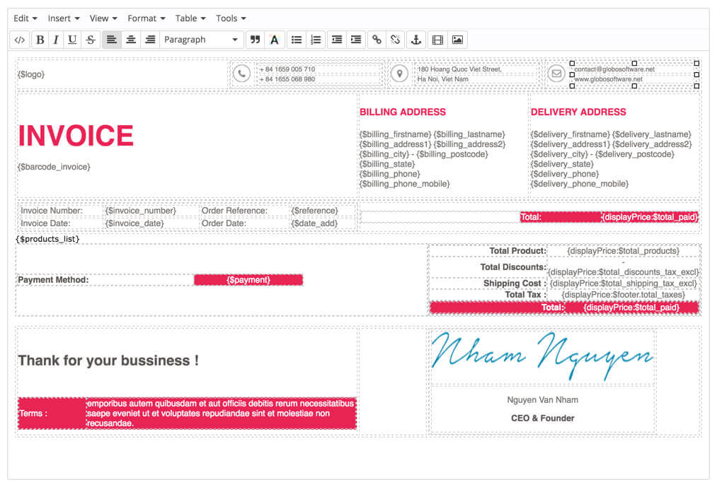 prestashop customize invoice by tinymce module