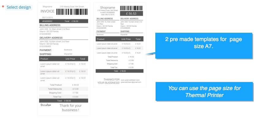 prestashop invoice templates for page size a7